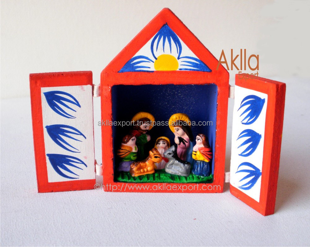 Christmas altarpiece group of Catholic religious holy Christmas decorations peruvian handmade supplies