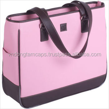 Vinyl material laptop bag, pink, high quality from Vietnam