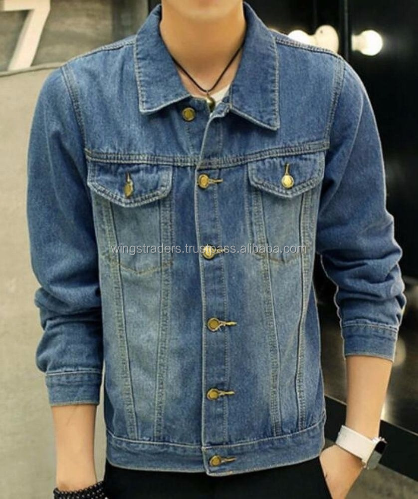 Men's Fashion Casual Denim Jacket Slim Jeans Jacket Blue By Wings Traders