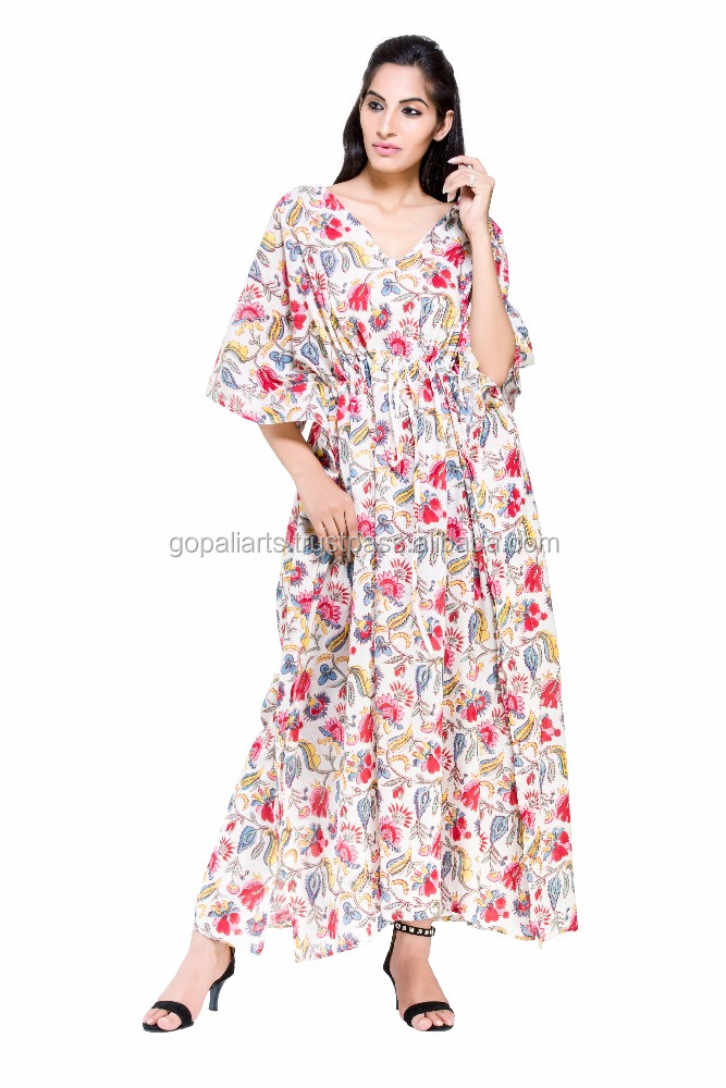 Beach Tunics & Kaftans Indian Handmade Long Kaftan Tunic Deco cotton Tunic Gown New Fashion Women Dress Long Beach Kaftan Maxi