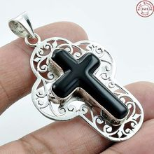 Graceful fashion black onyx gemstone pendant silver jewelry wholesale supplier 925 sterling silver pendant