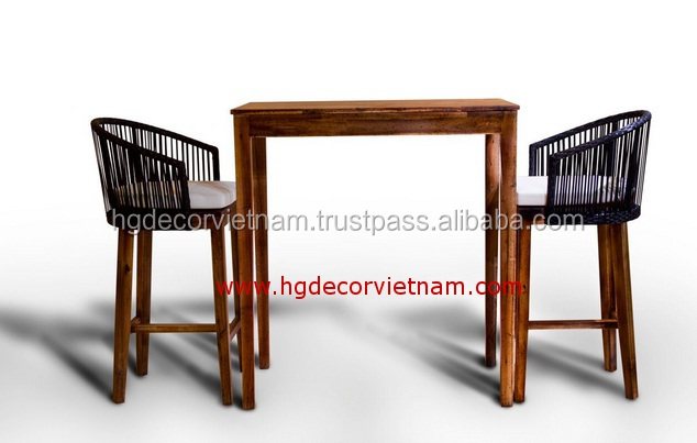 Best selling poly rattan bar set for restaurant, hotel, garden home, outdoor furniture, made in Viet Nam