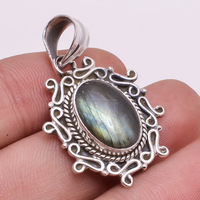 Sterling Silver Custom Pendant Natural Labradorite