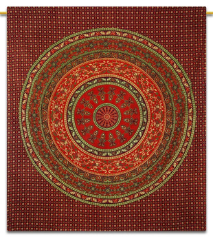 Mandala Cotton Indian Wall Hanging Tapestry Full Size Plum Bedspread Decor Throw 92 x 82 Inches TPL129A