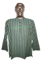 full sleeve short khadi yoga kurta striped, size : chest 46 x height 30 inches (medium).