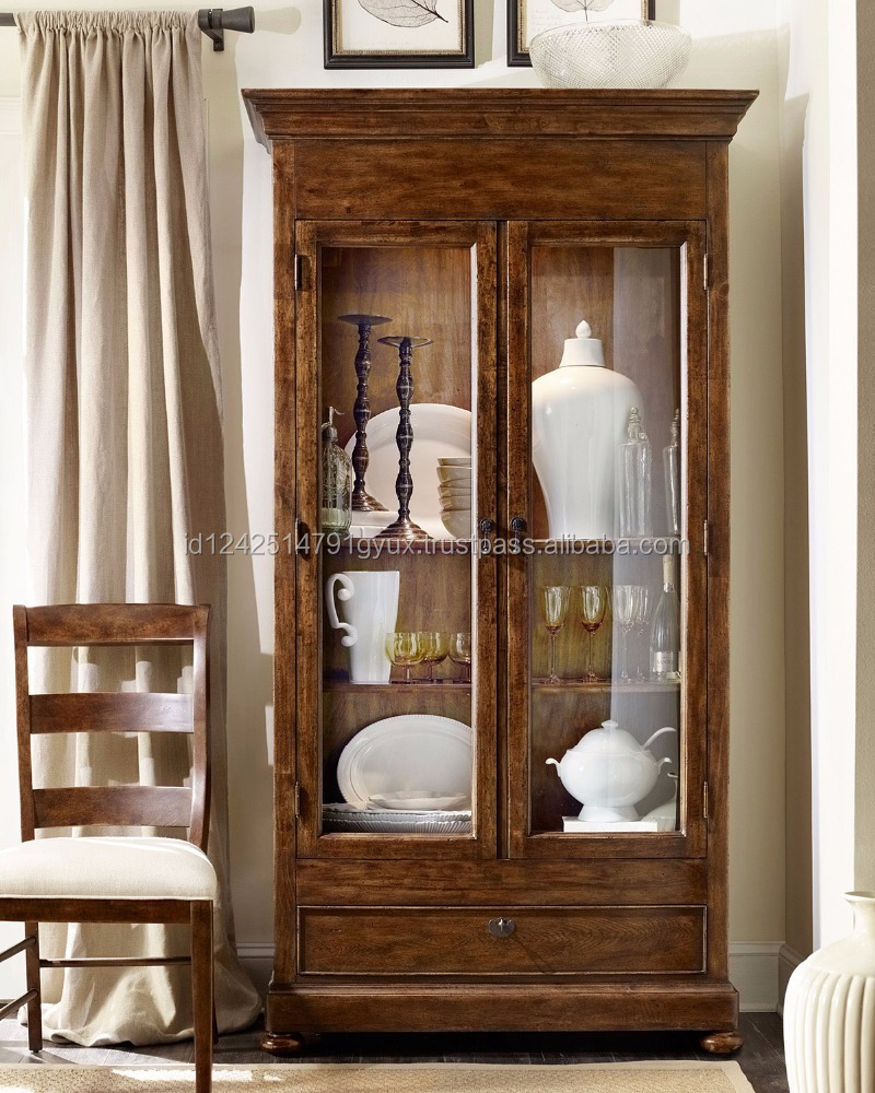 2017 New Colonial Style - Solid Teak Wood Curio Cabinet