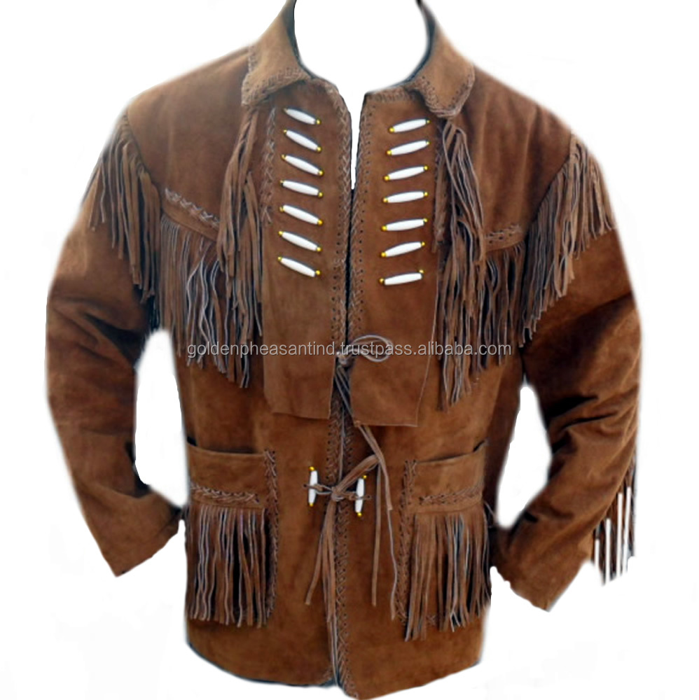 Brown Leather Fringed Western Jacket, decorative laces, bones, braided trim and fringe