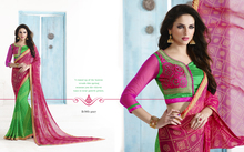 Printed With Lace Border Sarees In Georgette