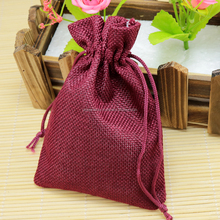 Colorful daily use drawstring pouch made of Indian jute