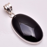 Solid 925 Silver Pendant Natural Black