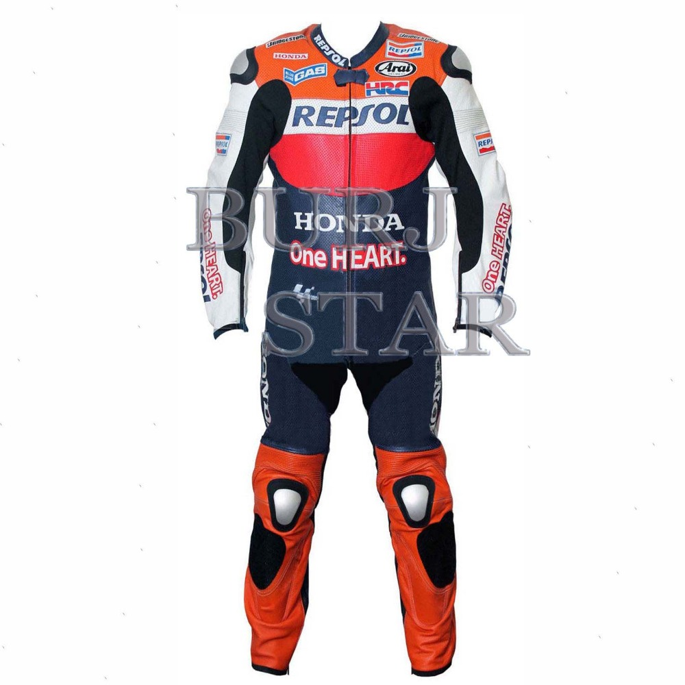 Motorbike Leather Suit , Full Safety Racing Suit Cowhide Leather