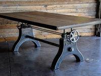 Industrial & Vintage Cast Iron Height adjustable Jack Dining Table