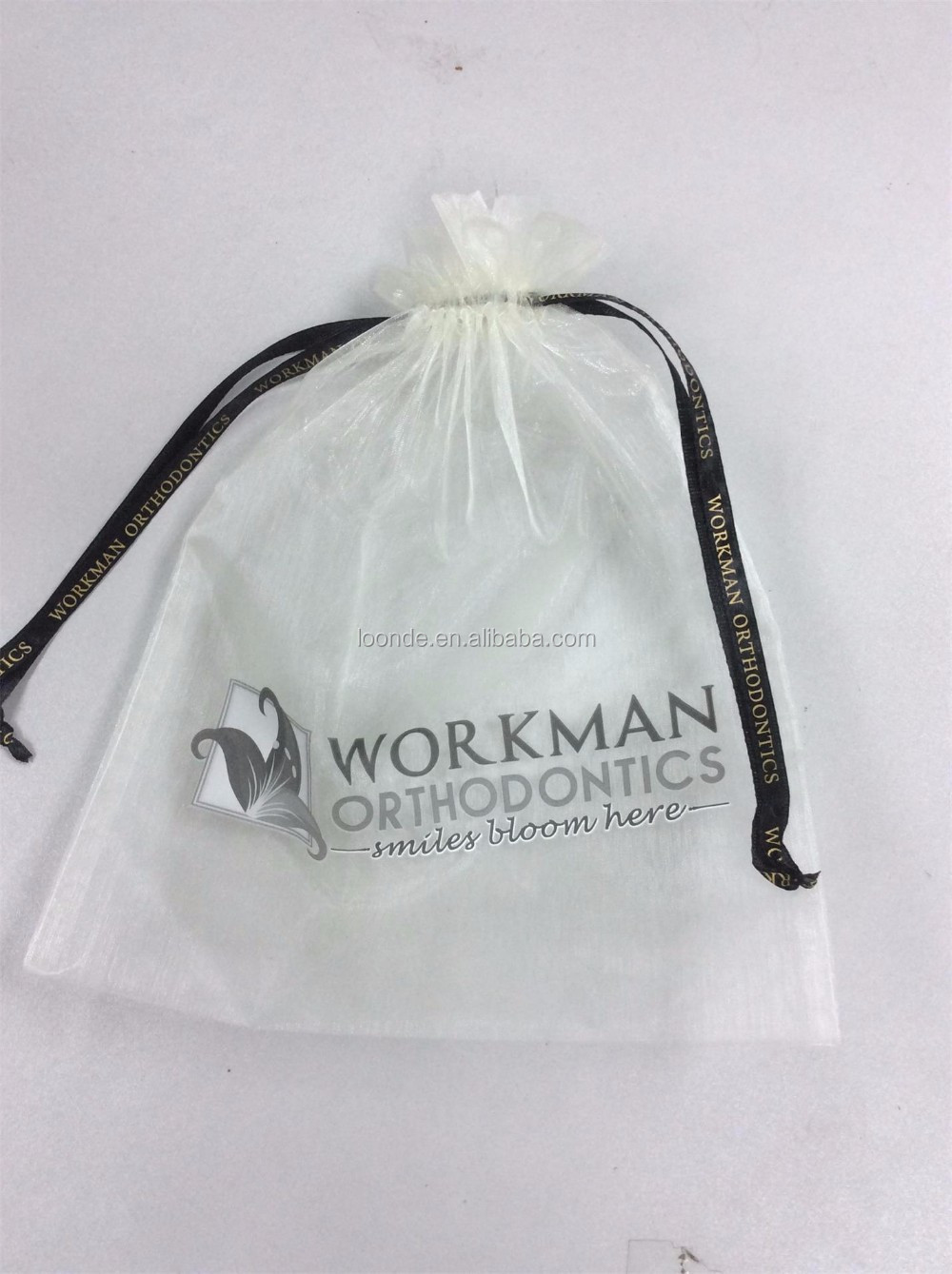 Personalized 10x15 drawstring organza bags with logo ribbon