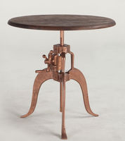 industrial Crank side table iron base copper finish wood top industrial