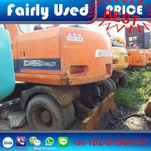 Korea original used Daewoo DH130W-V wheel excavator with blade for sale