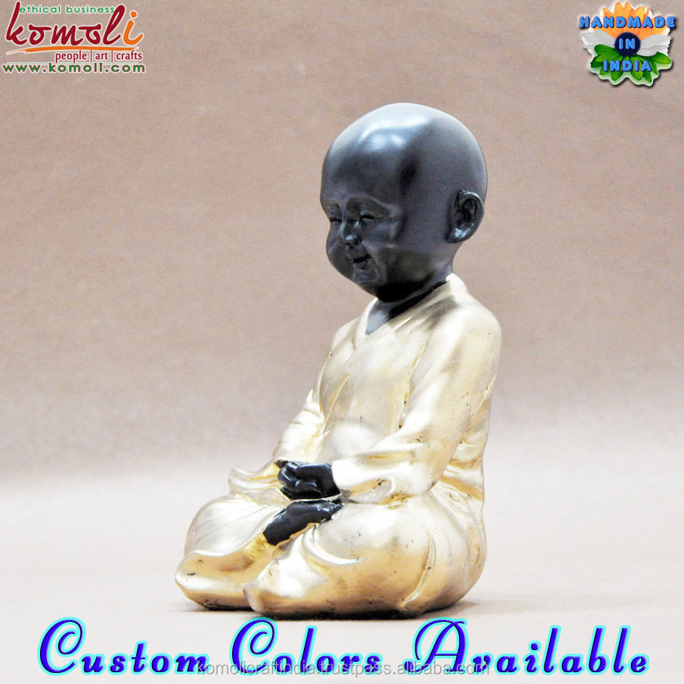 Meditating monk home decoration poly resin figurines statues