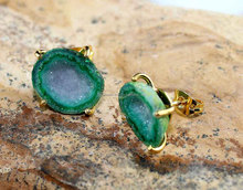 Womens Stud New Fashion 24k Gold Plated Geode Druzy Gemstone Handmade Stud Earring Jewelr