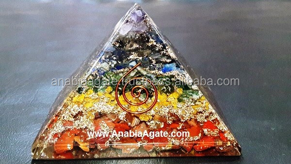 Orgone Pyramid : Metal Tortoise Orgone Pyramid with Roze Quartz Chips
