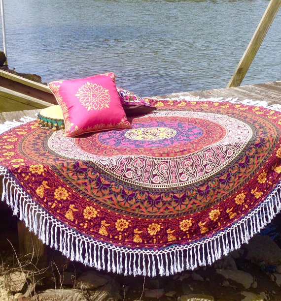 Indian Six Work Multi Colour Roundie Round Mandala Hippie Indian Tapestry Boho Beach Throw Towel Yoga Mat77