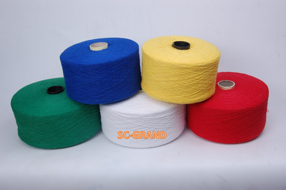 Recycled cotton polyester yarn for weaving Mop