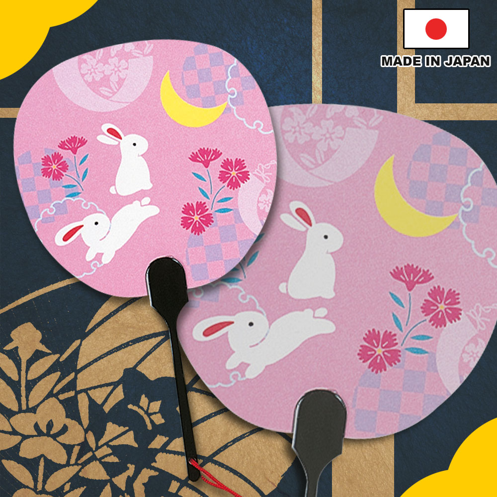 "Traditional and popular summer items, greeting card Uchiwa shape ""Usagi moyou"" for enjoyoing summer with a envelope"