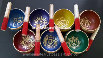 Wholesale Tibetan Singing Bowl With Seven Chakra Symbol : Meditation Singing Bowl With Chakra Symbols