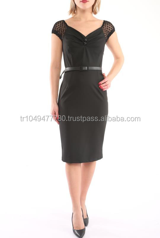 Knee Length Short Sleeves Office Style Women Dresses With Belt
