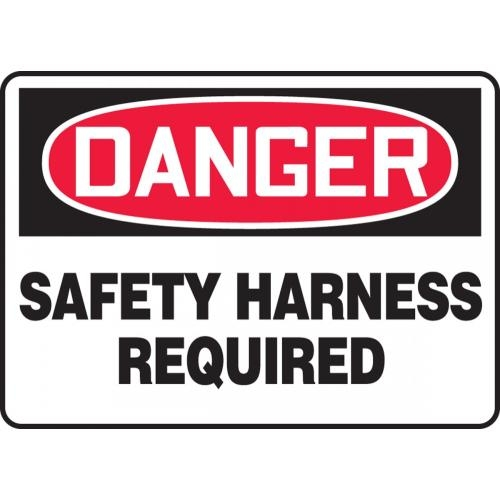 "Accuform MFPR009VS, 7"" x 10"" Adhesive Vinyl Sign: ""Danger Safety Harness Required"""