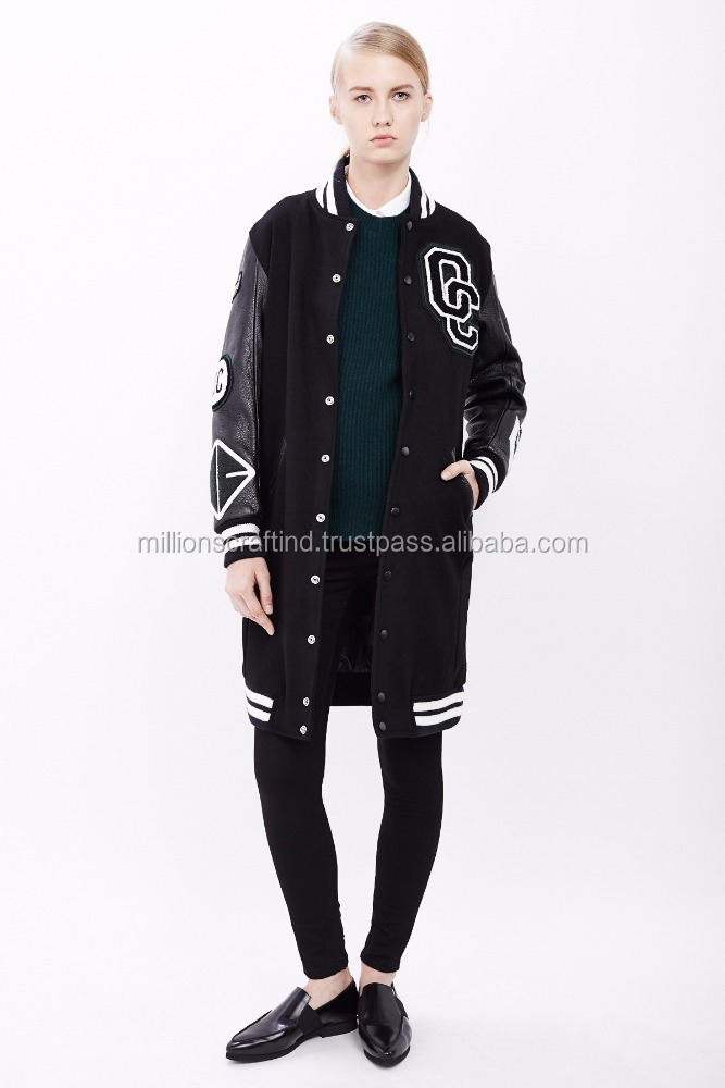 women varsity jacket Long coat /Baseball & Softball Wear for girls and women stylish