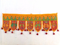 Wholesale Patchwork Toran-Home Decorative Indian Yellow Beaded Embroidered Window Valence Door Hanging/Toran