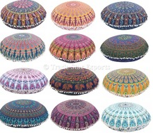 "Large Mandala Tapestry Floor Pillows Cotton Round Cushion Cover Ottoman Decorative Poufs 32"" Meditation Pillow Covers"