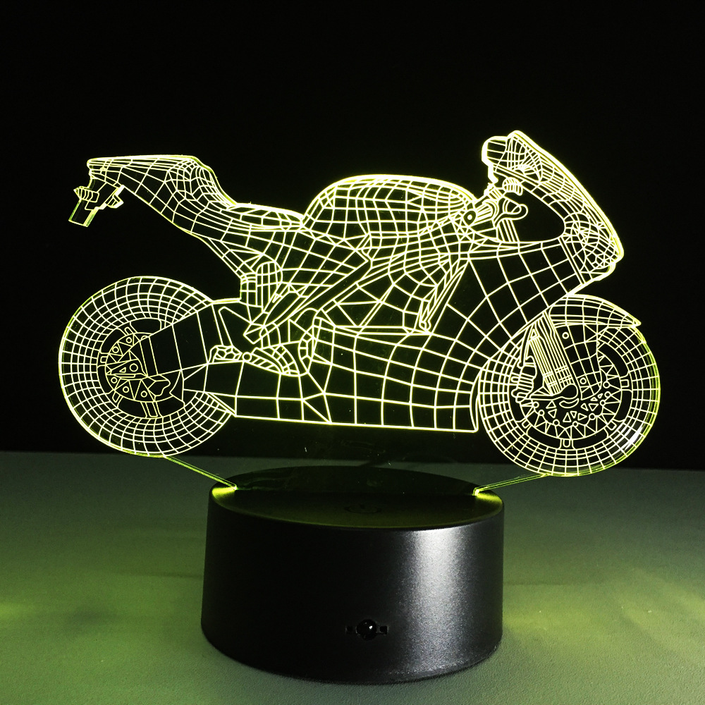 xmas light decoration USB Novelty Motorcycle 3D illusion Lamp LED Table Night Lights Lamp for Kid