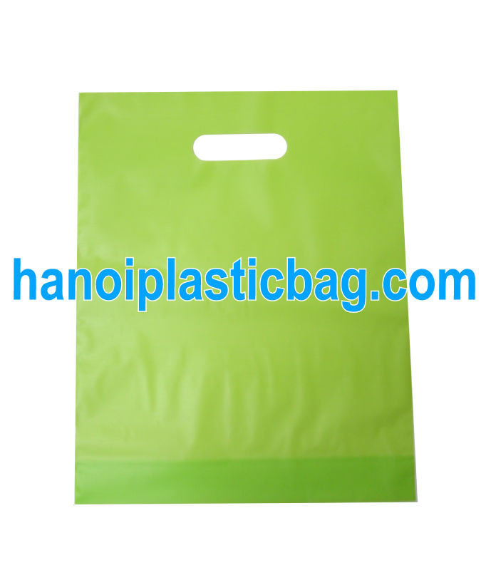 Fold over die cut handle bag degradable made in Vietnam