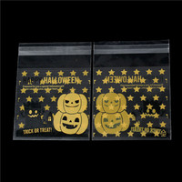 OPP Food Safe Party Candy Cookie Bags Orange Pumpkin Stars Pattern Halloween Self Adhesive 13.2cmx9.8cm, 1 Packet