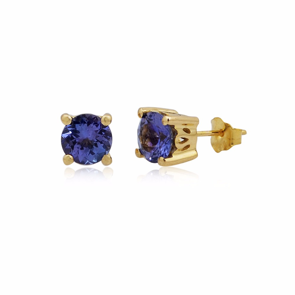 light weight round tanzanite gemstone 10k gold jewellery stud earrings