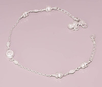 RB73 GORGEOUS LOOK SILVER RAVA WORK DESIGN 925 STERLING SILVER JEWELRY ANKLET