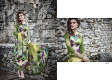 Green Cotton Satin Churidar Suit At Wholesale Price
