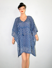 hand block print indigo caftan, night dress, mini top dress sexy beach yoga kaftan