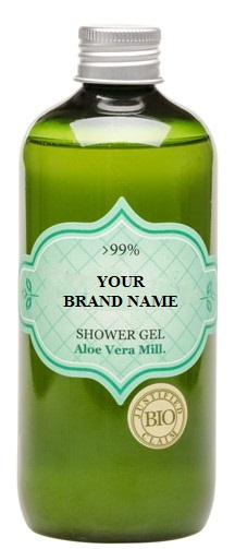 Body Shower Gel With Aloe Vera - 300 ml. Natural Cosmetic Products. Made in EU