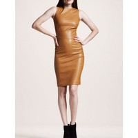 tan color leather dress /leather hot wear/stylish leather women wearing