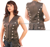 custom Women's sexy cheap zipper front nlack faux leather vest