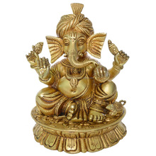 Religious Pagdi Ganesha Decorative Statue Brass Table Decor