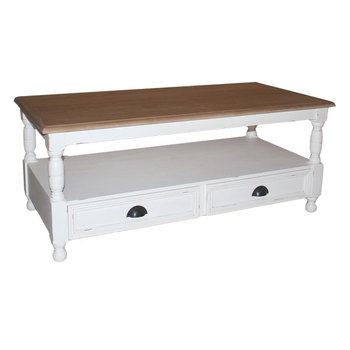 Indonesia Shabby Chic - Coffee Table with 2 Drawer Bottom Chic furniture