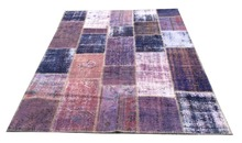 Purple turkish patchwork kilim rug