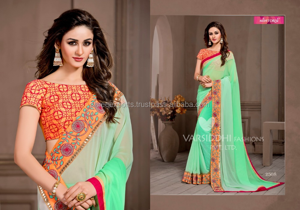 Goodness Medium Spring Green Georgette Saree/indian dresses online shopping