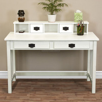 Writing Desk White Home Office Computer Desk Solid Wood Table
