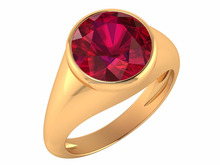 Latest Indian 14k Yellow Solid Gold Ruby Bezel Unisex Classic Desginer Ring