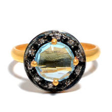 Blue Topaz Hydro Quartz 10mm Round Faceted With C.Z Studded 925 Sterling Silver Bezel Setting Gold Plated Ring