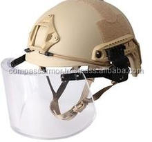 Military PASGT Ballistic Helmet,Kevlar Bulletproof Helmet with side rails attached Visor and Neck Protector NIJ IIIA
