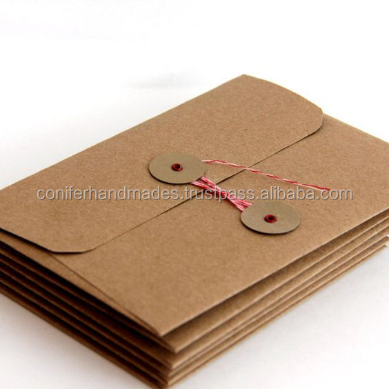 custom made kraft paper string tie envelopes made from recycled kraft paper also available with logo print